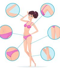 Woman depilation. Female body hair removal armpits and waxing vector cartoon infographics. Illustration depilation skin, perfect skincare and clear